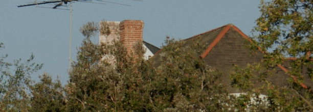 Photograph of a television antenna on a house in Brentwood in Los Angeles, taken on July 16, 2012.