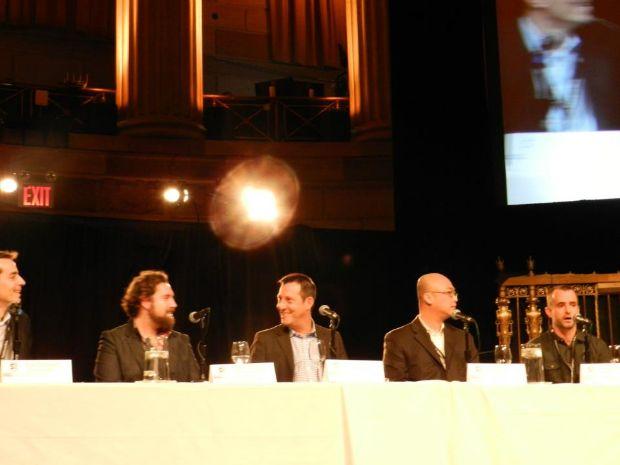 At right, Sean Casey of Social Guide, speaks on analytics panel at Social TV Summit on Nov. 8