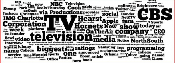 A word cloud of today's selected readings for Social TV professionals