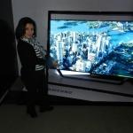 Social TV Daily Managing Editor Nancy Ayala gets a closeup of the Samsung Smart TV.