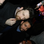 Stuart Tracte, left, of Ogilvy in New York attends the Samsung Smart TV rollout party. (Other guest is unidentified.)