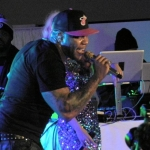 Florida rapper Flo Rida amps up a New York audience during his concert at the Samsung Smart TV launch party on March 20.